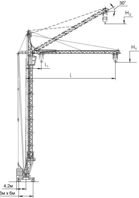Схема Крана КБМ-401ПА с балочной стрелой